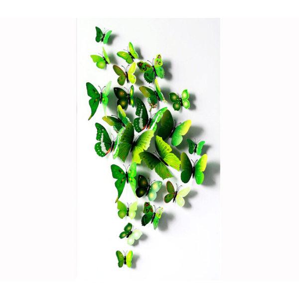 Fjäril väggdekorationer 3D med magneter 12 st / förp Grön grön