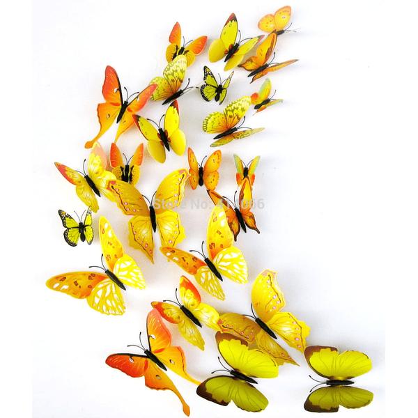 Fjäril väggdekorationer 3D med magneter 12 st / förp Gul gul