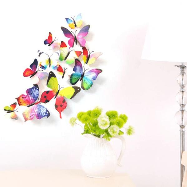 Fjäril väggdekorationer 3D med magneter 12 st / förp regnbågens  flerfärgad