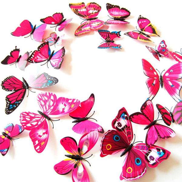 Fjäril väggdekorationer 3D med magneter 12 st / förp Rosa rosa
