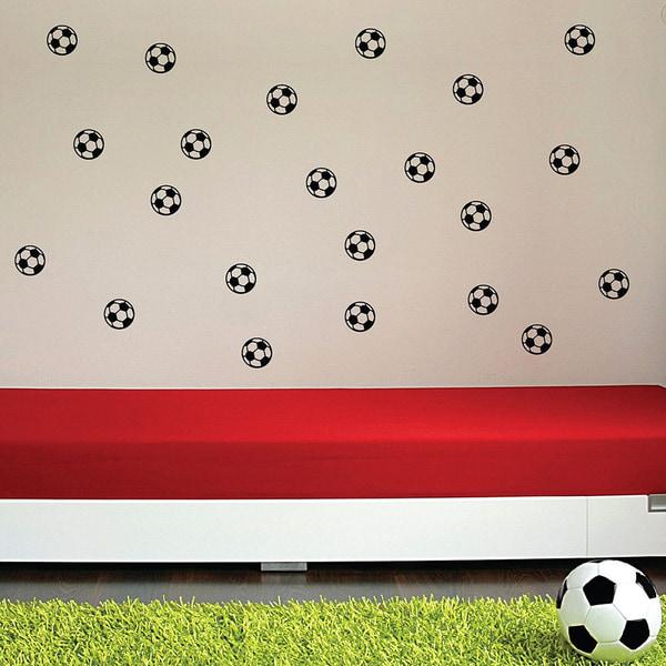 Fotboll vinyl vägg klistermärken 20 st/förp svart