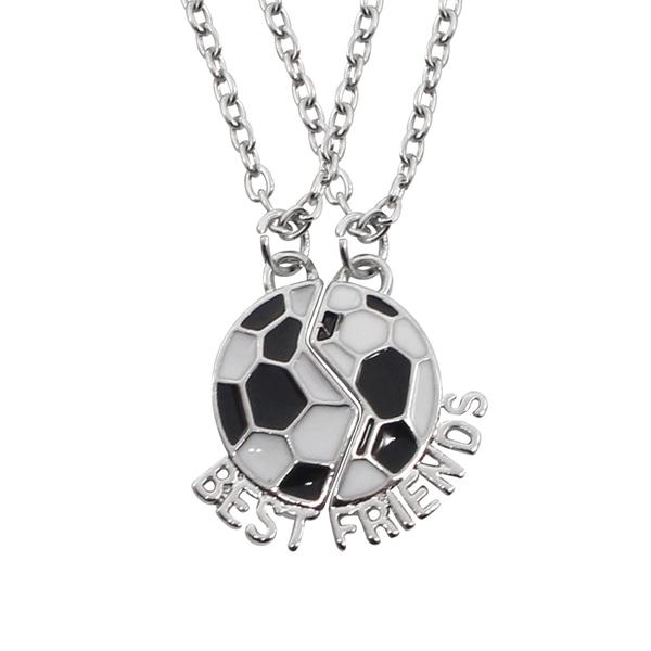 Halsband för bästa vänner med fotboll silver