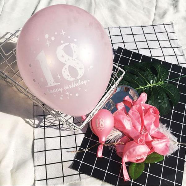 10-pack ballonger | Happy birthday 18 år rosa