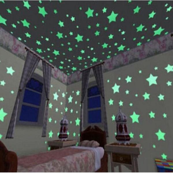 Självlysande stjärnor - stjärnhimmel 100 stycken grön