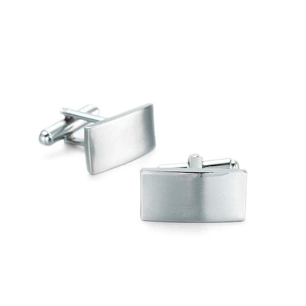 Manschettknappar - Stilrena rektangulära i silver