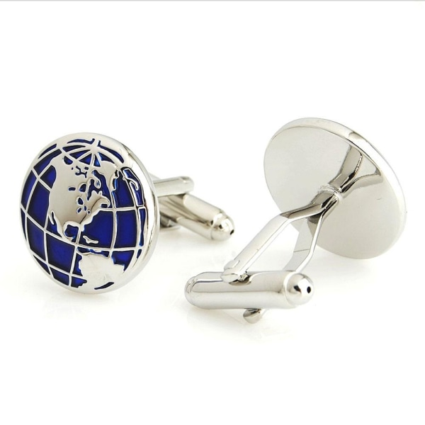 Manschettknappar - Världskarta i blått och silver Blå