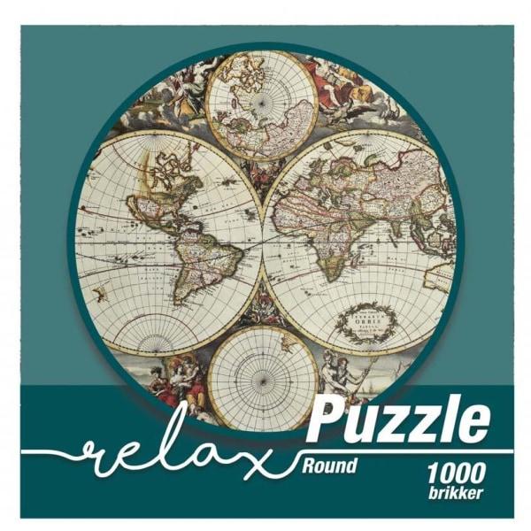 1Conzept Relax Runt Pussel - Världskarta 1000 bitar multifärg