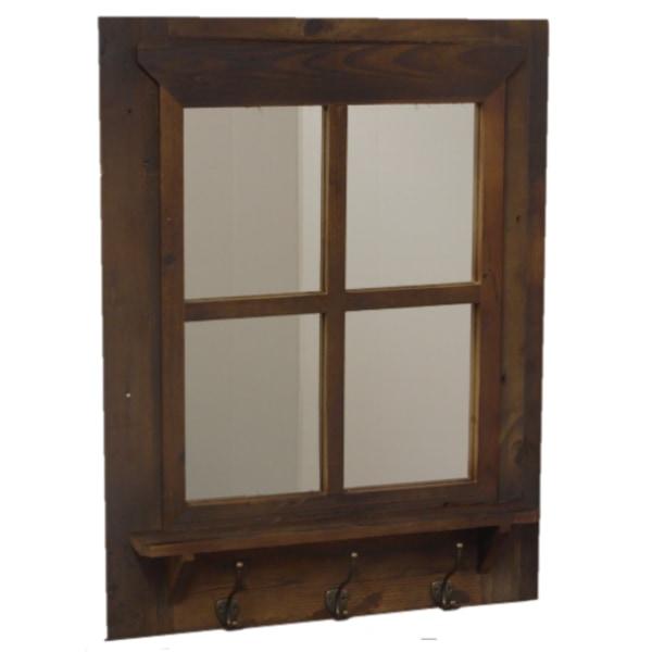065 Wengen spegel med krokar återvunnet trä brun