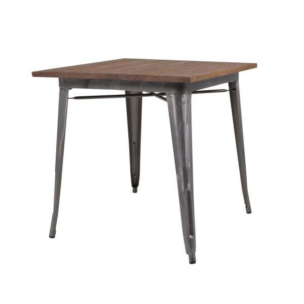 Matsalsbord plåt galvaniserad med toppskiva i alm 75 x 75