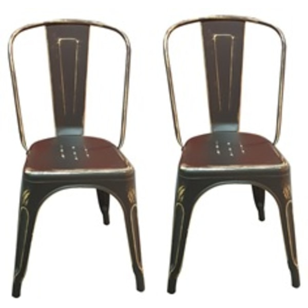 Plåt stolar antik svarta/guld pris 2 st antik svart