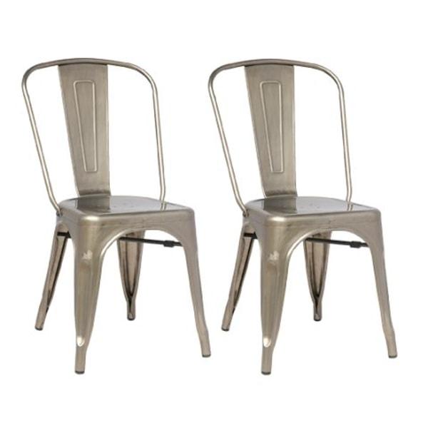 Plåt stolar galvaniserade pris 2 pack