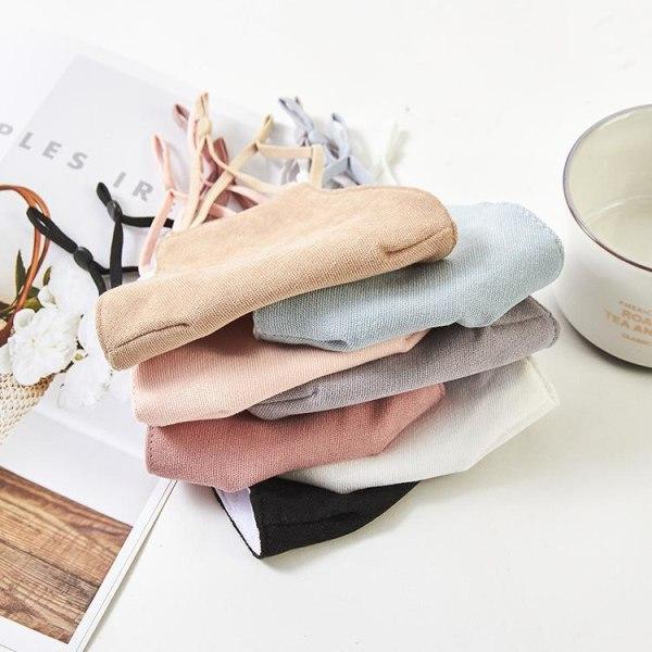 5-lager mask i bomull munskydd i stilrena pastellfärger tvättbar Black one size