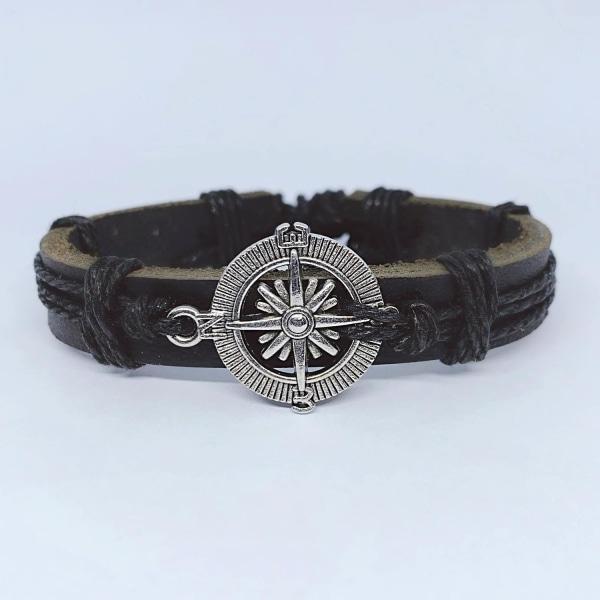 Handgjort armband i autentisk läder brun kompass män metall Brun one size