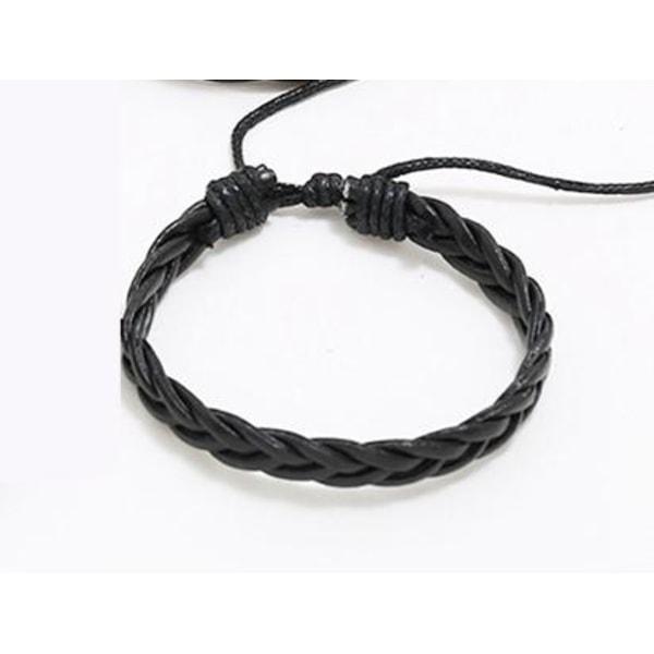 Handgjort flätat armband i autentisk läder svart för män  Svart one size