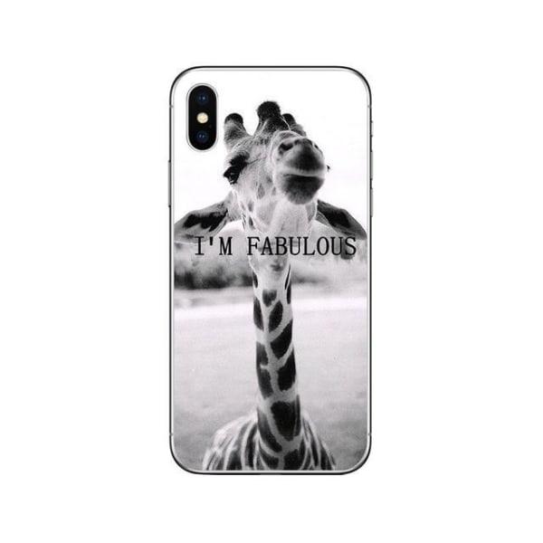 iPhone 12 & 12 Pro skal rolig giraff med text I am fabulous  grå one size