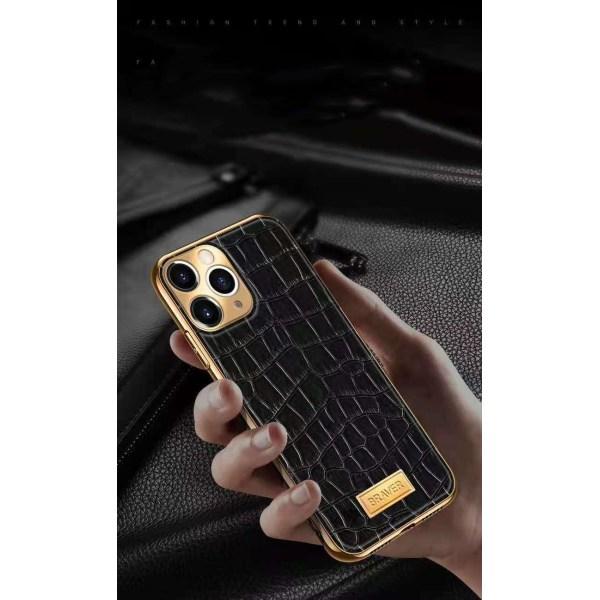 iPhone 12 Skal äkta läder krokodilmönster guldpläterad hög lyx Black one size
