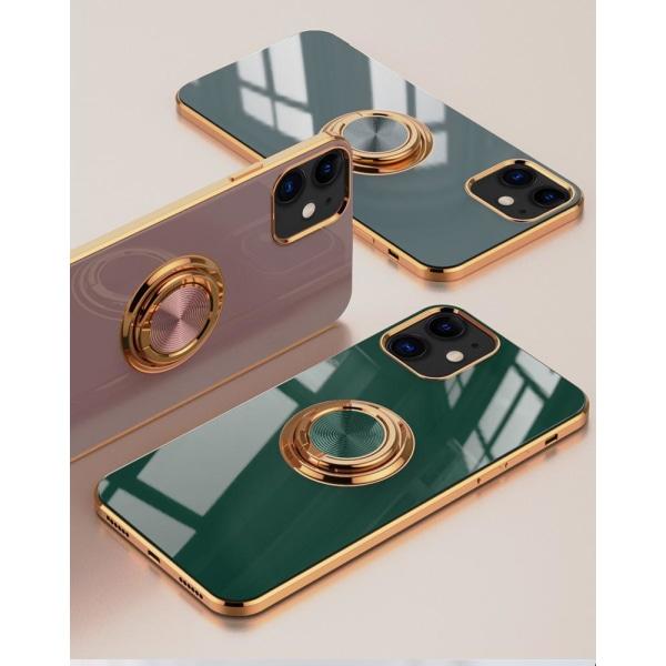 iPhone 12 och iPhone 12 Pro Skal Lyxigt Stilrent med ring ställ- Black one size