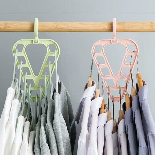 Multi port Support Circle Clothes Hanger Multifunction Layered B pink