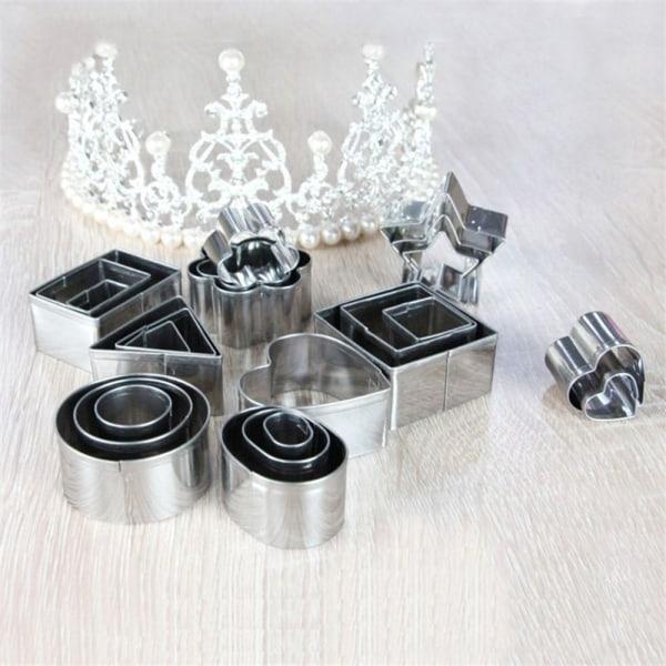 24 Set Flower Round Decorating rostfritt stål kakform