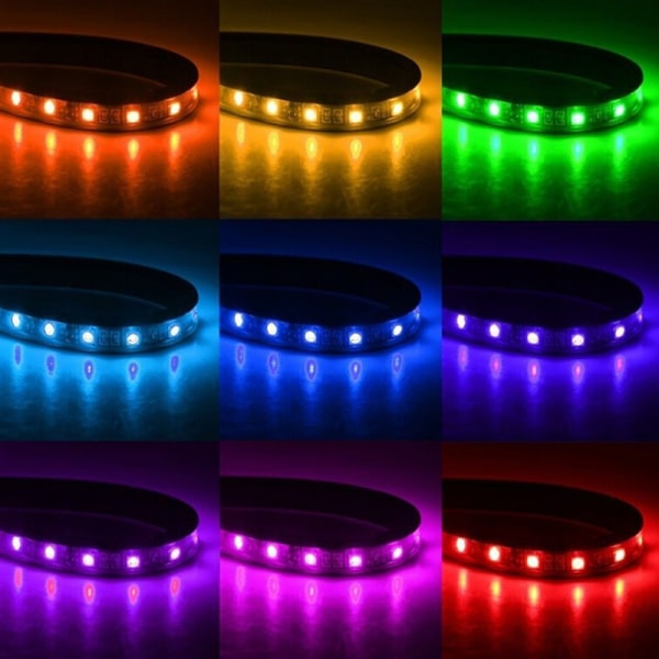 4x 12LED RGB Car Interior Atmosphere Footwell Strip Light USB One Size