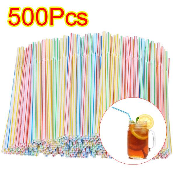 500-pack - flexibla sugrör - mångfärgad / vit
