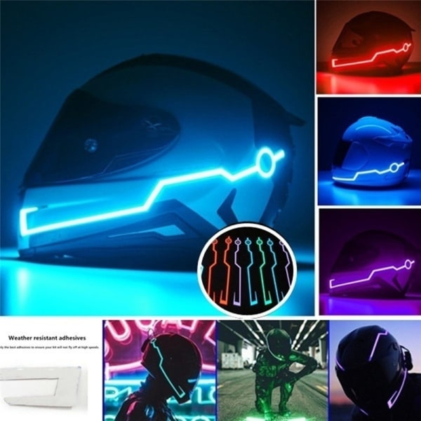 Night Riding LED Light Helmet Kit Bar Motorcykel blinkande rand
