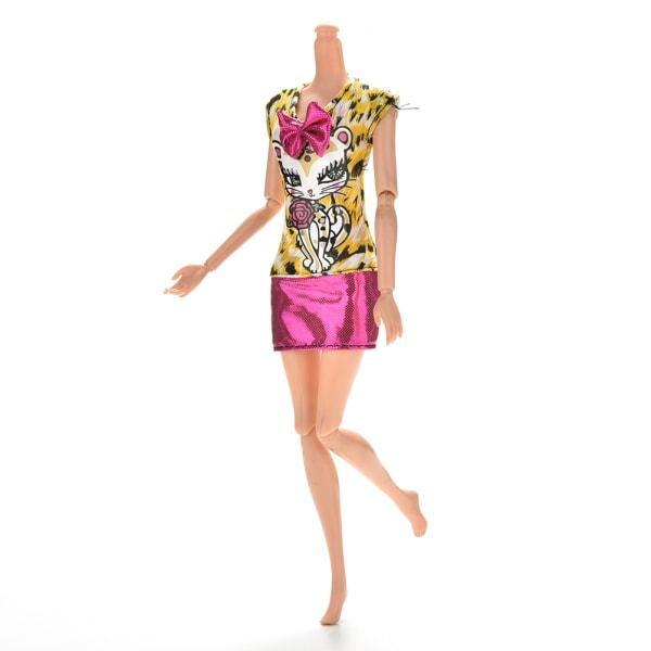 1 st mode sexig klänning leopard katt kjol för barbies docka wit