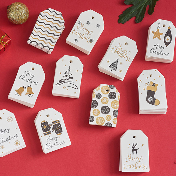 100PCS Christmas DIY Kraft Tags Labels Gift Wrapping Paper Hang E 100pcs