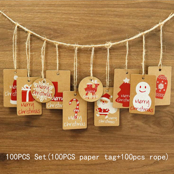 100pcs Merry Christmas Kraft Paper Tags Gift Wrapping Decoratio 10