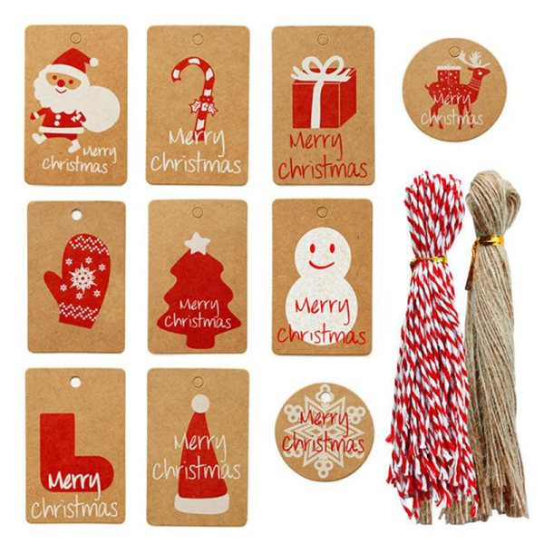 100pcs Merry Christmas Kraft Paper Tags Gift Wrapping Decoratio 2