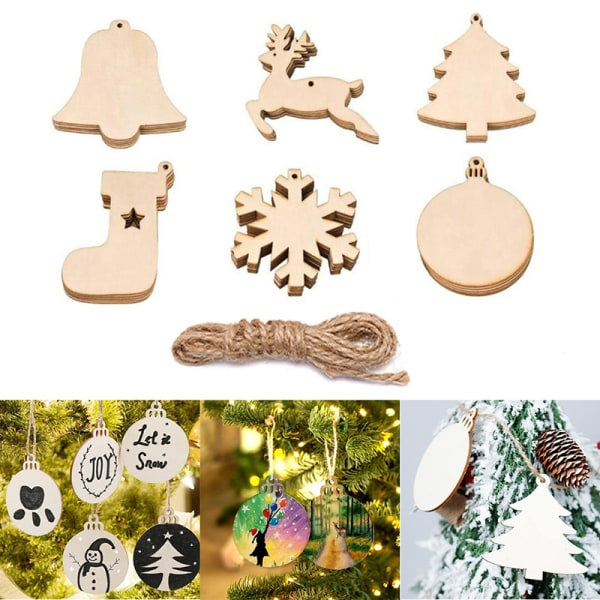 10st trä julgran hängande rådjur strumpor snöflinga boll H.