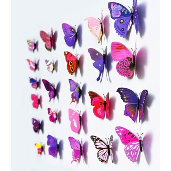 12PCS Art Design Decal Wall Stickers Home Decor Room Decorations Purple
