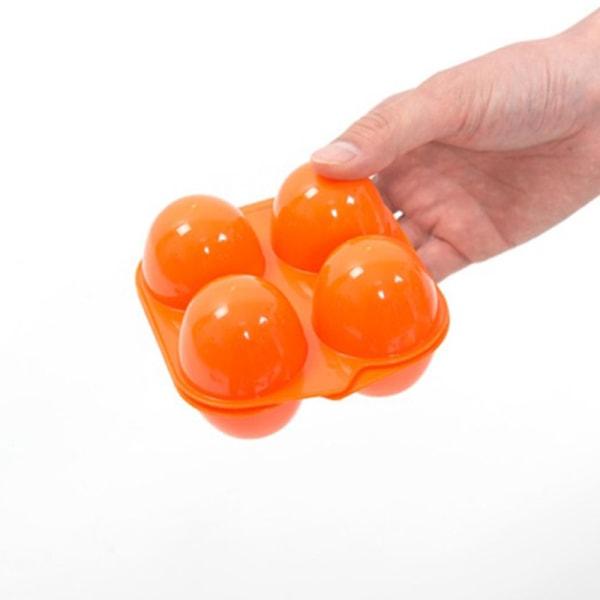 1pc 4 Grid Egg Storage Box Container Portable Plastic Egg Holde Orange