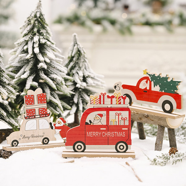 1Pc Wooden Santa Claus Christmas Ornaments DIY Xmas Party Decor B