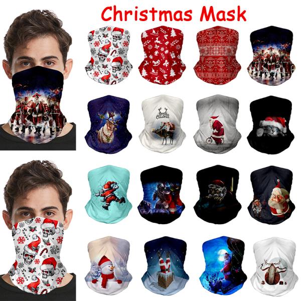 2020 New Funny Christmas 3D Print Cotton Face Scarf Fashion Xmas O