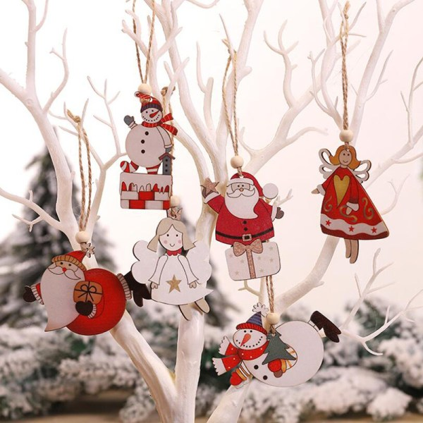 2Pcs Wooden Christmas Tree Hangers Decorations Pendant DIY Xmas  D