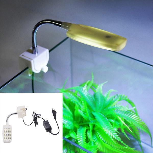 32 LED Aquarium Fish Tank Light Clamp Clip Flexible White & Blue White