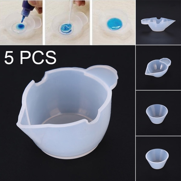5pcs Silicone Mold Cup Dispenser Epoxy Resin For Jewelry Making  D