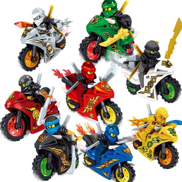 8Stk Ninjago Motorcycle Set Minifigures Ninja Mini Figures Block one size