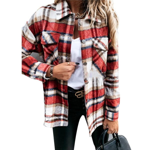 Autumn European and American long sleeve large pocket loose wom S Red