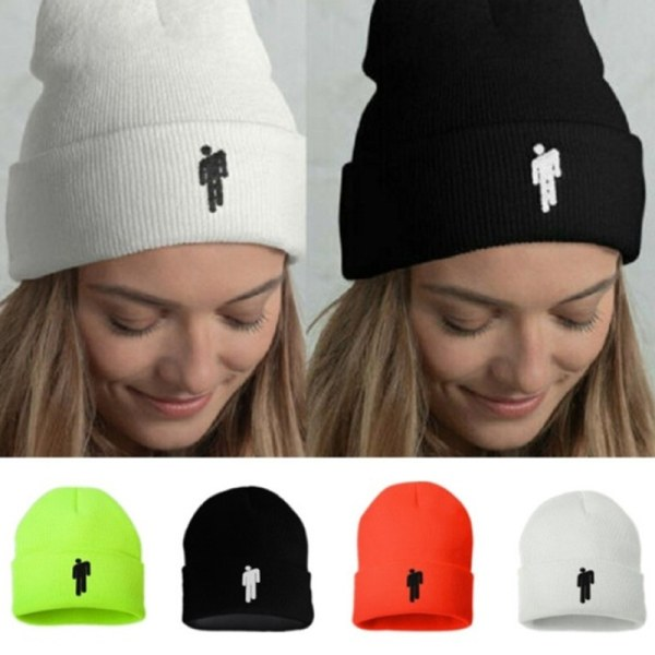 Billie Eilish Beanies Casual Warm Embroidery Knitted Winter Hat  Green
