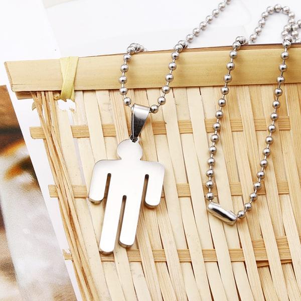 Billie Eilish Pendant Necklace Round Strand Chain Stainless Stee White