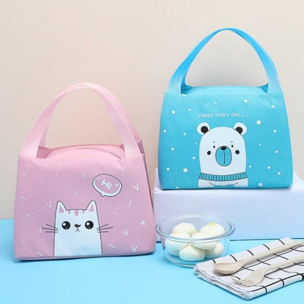 Cartoon Cute Lunch Bag For Women Girl Kids Children Thermal Ins Navy