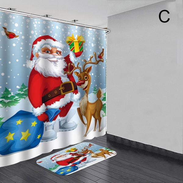 Christma Santa Claus vattentät duschdraperi Anti-slip bad M