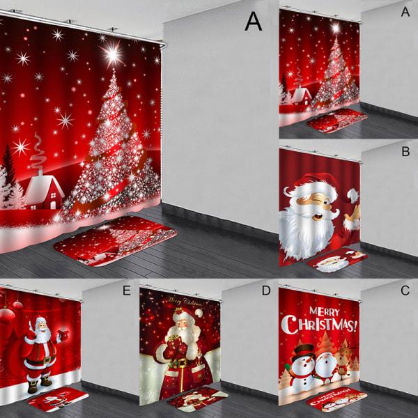 Christma Santa Claus Waterproof Shower Curtain Anti slip Bath Ma D 120*180 curtain