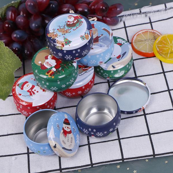 Christmas Candy Box Storage Iron Box Santa Claus Gift Aromathera 01