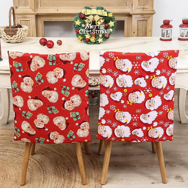 Christmas Chair Covers Hat Dining Seat Elder Santa Claus Home Pa F