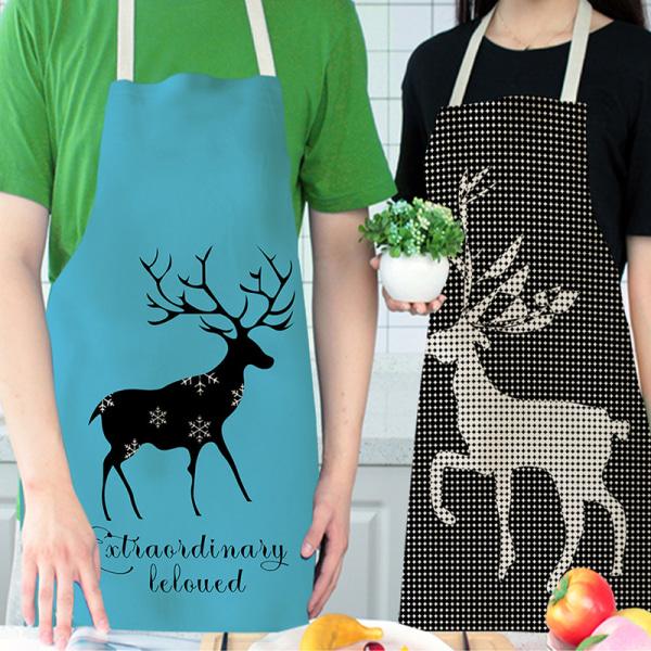 Christmas Elk Series Multifunktionellt köksförkläde bomullslinne