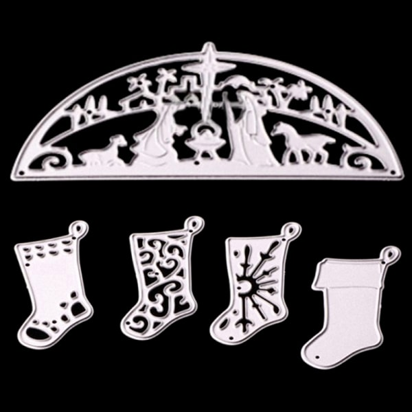 Christmas Tree Deer Frames Cutting Dies Stencils Die Cut for DIY J 9.8*5.2cm