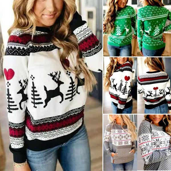 Christmas Women Long Sleeve Sweater Xmas Sweatshirt Jumper Winte White S